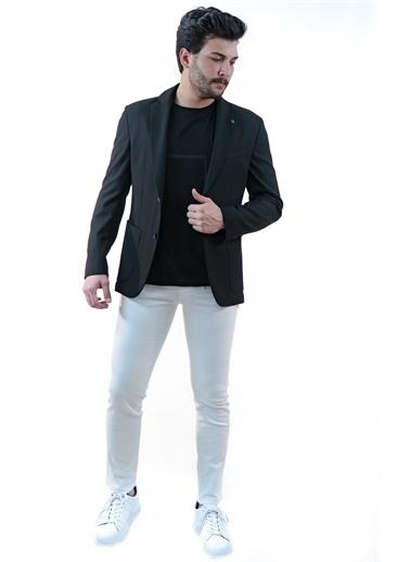Boris Becker Kırlangıç Yaka Uzun Kol U Cepli Çizgili Desen 2 Düğmeli Erkek Blazer Ceket Siyah